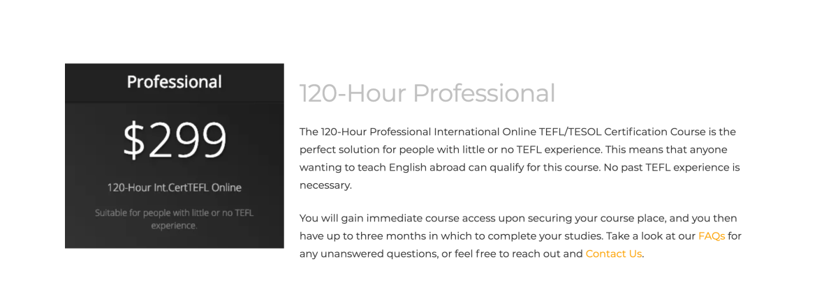 TEFL Online Pro 120-Hour Professional certification course.