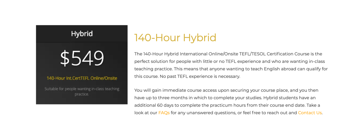 TEFL Online Pro 140-Hour Hybrid certification course.