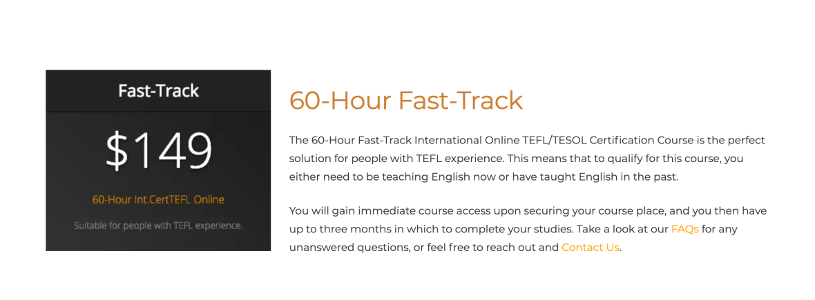 TEFL Online Pro 60-Hour Fast-Track certification course.