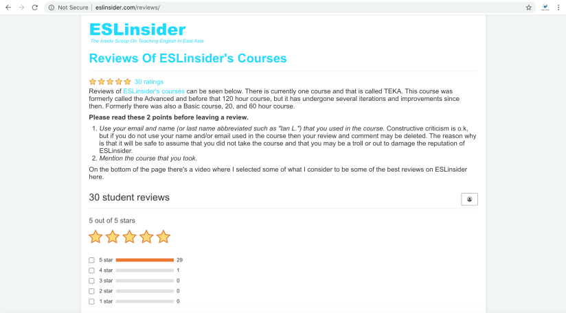ESLinsider.com fake 5-star reviews.