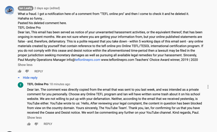 Ian Leahy comment on ESLinsider.com YouTube channel.