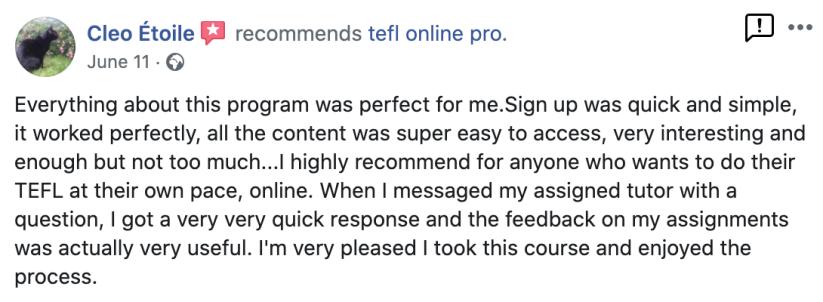 TEFL Online Pro recommendation Facebook (3)