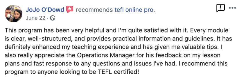 TEFL Online Pro recommendation Facebook (5)