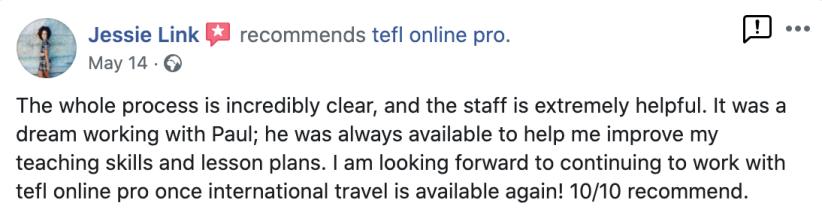 TEFL Online Pro recommendation Facebook (6)