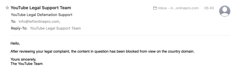 YouTube blocks ESlinsider and Ian Leahy channel post message.